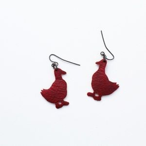 Red Vinyl Ducky Earrings